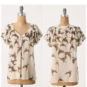 Anthropologie Moulinette Souers Bird Silk Blouse